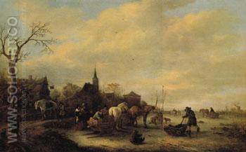 Winter View c1648 - Isaack van Ostade reproduction oil painting