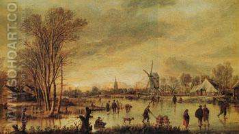 A River in Winter - Aert va der Neer reproduction oil painting