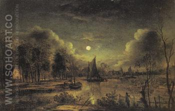 Moonlit River - Aert va der Neer reproduction oil painting