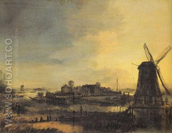 Landscape with a Mill - Aert va der Neer reproduction oil painting