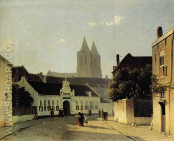 A Street in a Dutch Town - Jan Weissenbruch reproduction oil painting