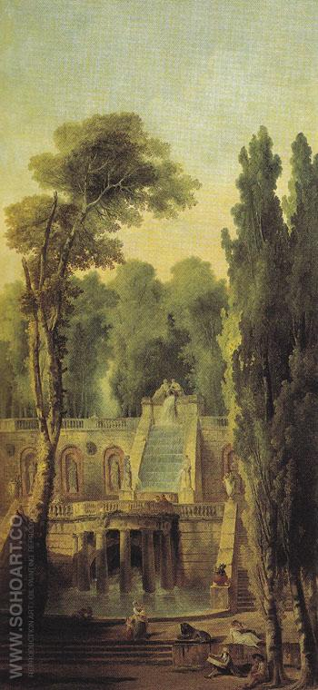 Landscape with Terrace and Cascade 1802 - Hubert Robert reproduction oil painting