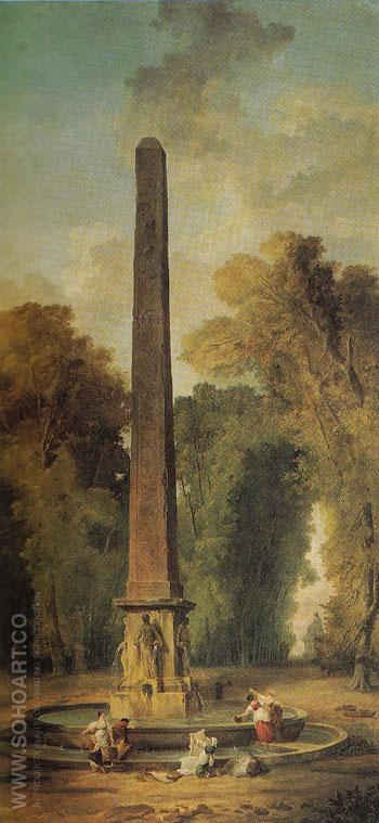 Landscape with Obelisk - Hubert Robert reproduction oil painting