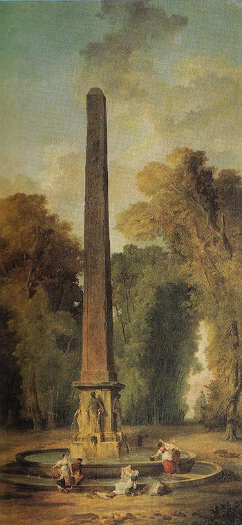 Landscape with Obelisk - Hubert Robert reproduction oil painting