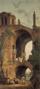 Landscape with Ruins - Hubert Robert reproduction oil painting