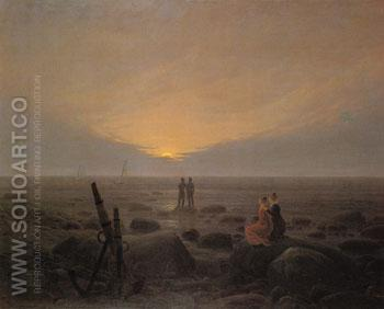 Moon Rising over the Sea 1821 - Caspar David Friedrich reproduction oil painting