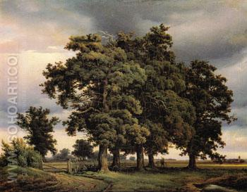 Oak Trees 1833 - Georg Heinrich Crola reproduction oil painting