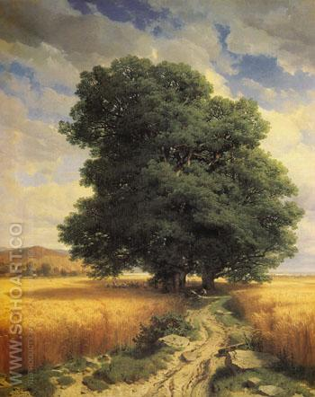 Landscape with Oak Tree 1859 - Alexander Calame reproduction oil painting