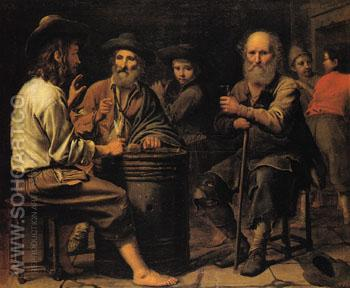 Peasants in a Tavern 1640 - Mathieu le Nain reproduction oil painting