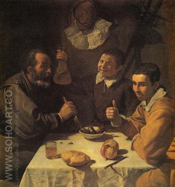 Three Men at a Table c1617 - Diego Velasquez reproduction oil painting