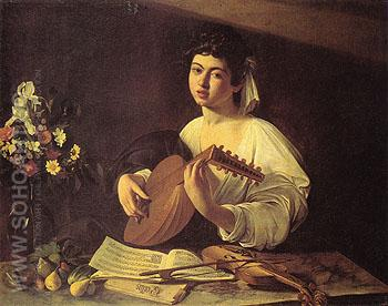The Lute Player c1595 - Caravaggio reproduction oil painting
