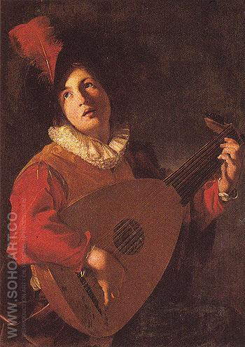The Lute Player c1610 - Bartolomeo Manfredi reproduction oil painting