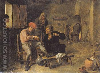 Tavern Scene - Adriaen Brouwer reproduction oil painting