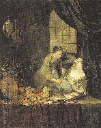 The Philandering Servant - Nicolas Lancret reproduction oil painting