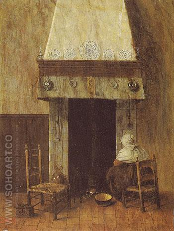 An Old Woman at the Fireplace - Jacobus Vrel reproduction oil painting
