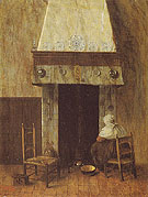 An Old Woman at the Fireplace - Jacobus Vrel