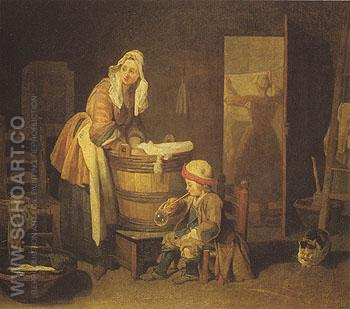 The Washerwoman - Jean Simeon Chardin reproduction oil painting