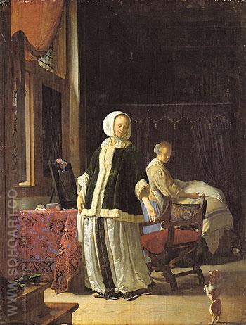 A Young Woman in the Morning c1659 - Frans van Mieris The Elder reproduction oil painting