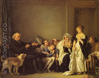 A Visit to the Priest 1786 - Jean Baptiste Greuze reproduction oil painting