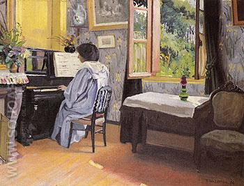 Woman at the Piano Madame Vallotton - Felix Vallotton reproduction oil painting
