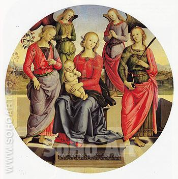 The Virgin and Child Surrounded by Two Angels St Rose and St Catherine - Perugino reproduction oil painting