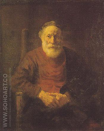 An Old Man in Red c 1652 - Rembrandt Van Rijn reproduction oil painting