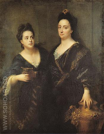 Two Actresses 1699 - Jean Baptiste Santerre reproduction oil painting