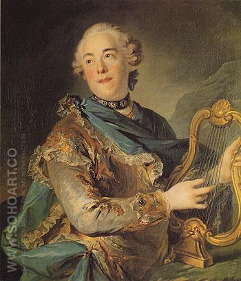 The Actor Pierre Jeliotte in the Role of Apollo - Louis Tocque reproduction oil painting