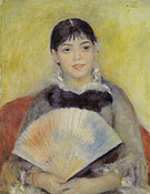Girl with a Fan 1881 - Pierre Auguste Renoir reproduction oil painting