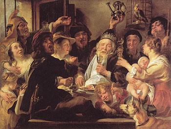 The Bean King c1638 - Jacob Jardaens reproduction oil painting