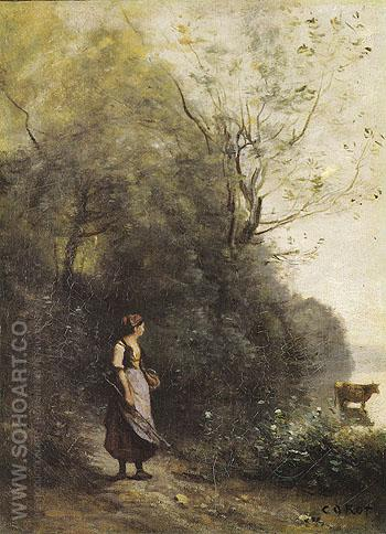 A Peasant Woman Grazing a Cow at the Edge of a Forest 1865 - Jean-baptiste Corot reproduction oil painting