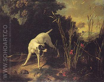 A Dog on a Stand 1755 - Jean Baptiste Oudry reproduction oil painting