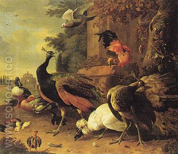 Birds in a Park 1686 - Melchior de Hondecoeter reproduction oil painting