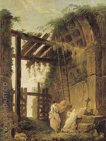 At the Hermits - Hubert Robert reproduction oil painting