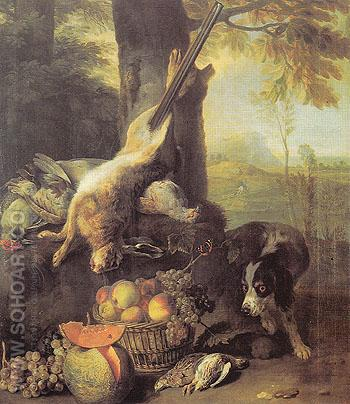 Still Life with a Dead Hare and Fruit 1711 - Alexandre Francois Desportes reproduction oil painting