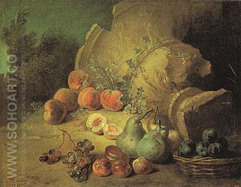 Still Life with Fruit 1721 - Jean Baptiste Oudry reproduction oil painting