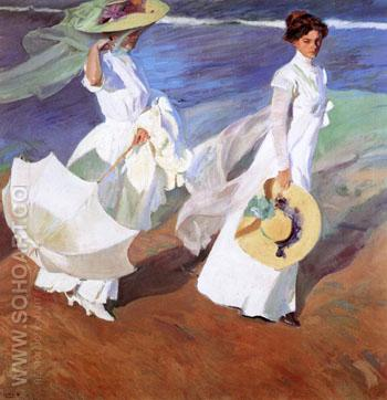 Paseo o Orillas del Mar Two Ladies with White Hats 1909 - Joaquin Sorolla reproduction oil painting