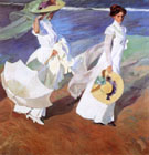 Paseo o Orillas del Mar Two Ladies with White Hats 1909 - Joaquin Sorolla