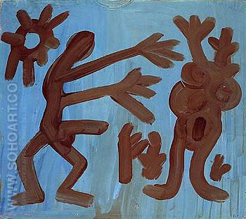 Man and Woman 1968 - A R Penck reproduction oil painting