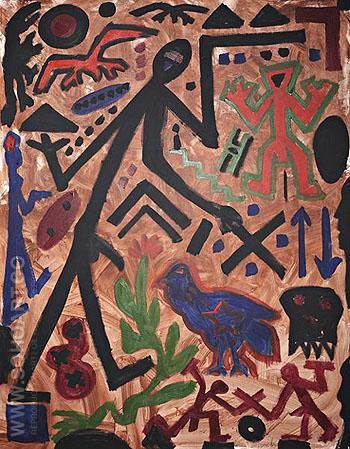 Untitled Das Laue Huhn 1990 - A R Penck reproduction oil painting