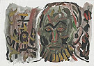 Untitled Selbstbildnis I 1987 - A R Penck reproduction oil painting