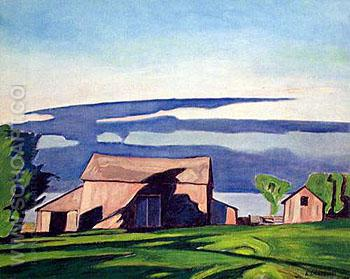 Barn on Bay View - A.J. Casson reproduction oil painting