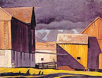 Barns at Twelve Mile Lake - A.J. Casson reproduction oil painting