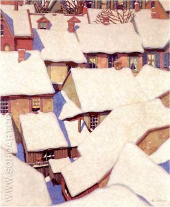 Houses in the Ward - A.J. Casson reproduction oil painting