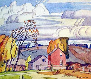 Old Farm House - A.J. Casson reproduction oil painting