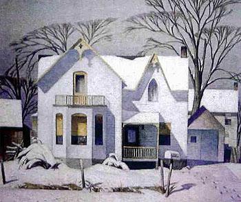 Village House - A.J. Casson reproduction oil painting