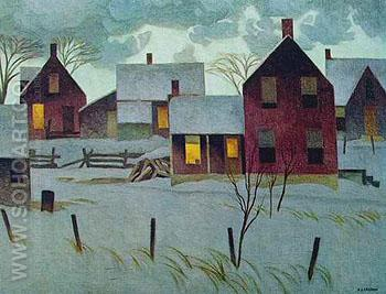 Winter Evening - A.J. Casson reproduction oil painting