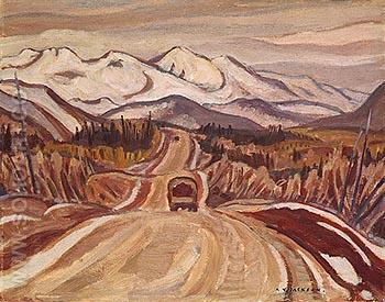 Alaska Hightway between Watson Lake and Nelson 1943 - A.Y. Jackson reproduction oil painting