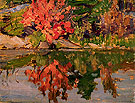 Red Trees Reflected in Lake 1913 - A.Y. Jackson reproduction oil painting