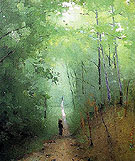 Landscape at Fontainebleau Forest - Abbott Henderson Thayer reproduction oil painting